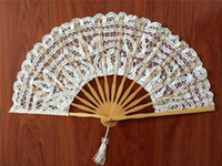 Wholesale Lace Umbrella Wholesalers - vintage palace Handmade white Battenburg lace full battenburg wedding hand Fan 27cm 14PCS Bamboo bone bridal accessories high quality S103
