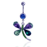 Wholesale Dragonfly Belly Button Rings - 3pcs lots 2016 fashion Colorful Dragonfly Button Barbell Navel Belly Ring Dangle Body Piercing Jewelry
