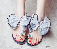 Wholesale Drilled Shoes - 2016 big bowknot sandals sets foot drill flat shoes sandals, slippers Bowtie Sandals
