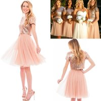 Wholesale sparkly top dress for sale - Group buy 2017 Cheap Sparkly Sequined Top A Line Bridesmaid Dresses Short Sleeves Jewel Neck Knee Length Maid of Honor Gowns Wedding Party Dresses