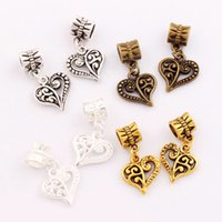 Dots Open Flower Heart Charm Beads 100pcs / lot 4Colors 13.3x25.1mm Antique Prata / Bronze / Gold Bead Fit European Bracelets Jóias DIY B919