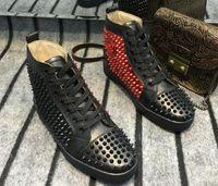 yedek parçalar toptan satış-Siyah / maroon sivri yüksek Top Sneakers Kırmızı Alt Ayakkabı Kadınlar, erkekler Eğitmenler Şarap-kırmızı Patent Deri Genç Dantel-up Spike Kırmızı Taban Lüks Bölüm