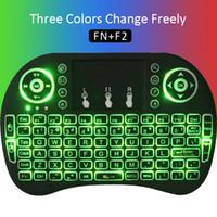 ingrosso luci della tastiera portatile-Luce colorata Rii mini i8 Mouse wireless Tastiera di gioco Touchpad Tastiere portatili Android TV gratuita Scatola per tablet Tablet xbox Telecomando