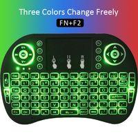 tablet için mini usb fare toptan satış-Renkli ışık Rii mini i8 Kablosuz Fare Oyunu Klavye Touchpad El Klavyeleri Android ücretsiz tv kutusu Dizüstü Tablet xbox Uzaktan Kumanda