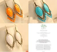 Boucles d'oreilles en pierres précieuses Bohemian Style Water Drop Beads Retro Boucles d'oreilles Turquoise Bead Tassel Dangle Earring For Women