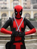 ingrosso zentai costumi supereroi lucido-Popolare Deadpool Shiny Lycra Spandex Costumi da supereroe per Donna Uomo Bambini Fetish Halloween Zentai Tute