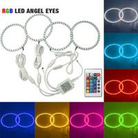 Wholesale Bmw E34 Ring - FEELDO Car RGB 5050SMD LED Flash Angel Eyes Halo Ring Light for BMW E30 E32 E34 DRL Headlight #4409