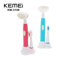 Wholesale Electric Brush For Face - KEMEI KM-3106 Electric Toothbrush Face Cleaning Brush waterproof rotary rotating 2 in 1 Brush Skin Care Tools for adults 0611013