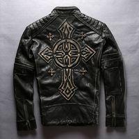 Wholesale Cowhide Clothes - Wholesale- new men's cow leather mens clothing coat cowhide genuine leather vintage rider jacket
