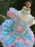 bebekler için beads toptan satış-Sevimli kızın Cupcake Pageant Elbiseler 2017 Balo Dantel Çiçek Kız Elbise El Yapımı Çiçekler Boncuk Kristaller Katlı Toddler Pageant elbise