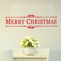 Wholesale christmas wall decorations for glass - YO-95 Merry Christmas Wall Quotes Decal Christmas Decoration Sticker DIY Home Decor Shop Window Wall Xmas Mural