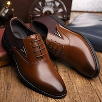 Wholesale Men Shoes Trade - 2017 Hot men's leather shoes New England men's shoes Europe and the United States pointed men's breathable business suits Foreign trade shoe