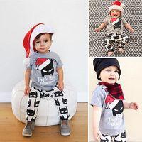 Wholesale Mini Hats Line - 2017 Baby Christmas Outfits Kids Cartoon Batman Christmas hat shirt & trousers 2pcs set Girl Boy Super Hero Casual Clothes for 0-3T