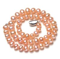 Wholesale Tahitian Pearl Pink - Beautiful 8-9mm pink Tahitian pearl necklace 18 inch 925 silver clasp