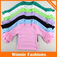 pamuklu dantel tişört toptan satış-14 Renkler Bebek Kız Fırfır T-Shirt Çocuk Pamuk İki Katmanlar Dantel Uzun Kollu tişörtleri Tops Tees Bebek Giyim Çocuk Giysileri onesies