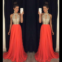 Wholesale Sexy Empire Bridesmaid Dresses - Prom Dresses 2016 High Neck Evening Dresses Cheap Bridesmaid Dresses Orange Long Dresses Evening Wear Evening Gowns Sexy Ball Gowns