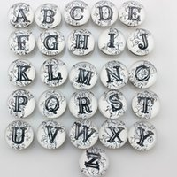 Charm Bracelets black letter alphabet - Mix Snap Jewelry Alphabet Letters Glass Ginger Snap Charm For Snap Button Jewellery