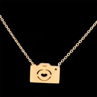 Wholesale Silver Camera Necklaces - Wholesale 10Pcs lot 2017 Stainless Steel Jewelry Pendant Photography Enthusiast Statement Necklace Digital Camera Gold Chain Choker Necklace