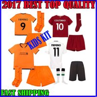Wholesale Children S Cotton Socks - 17 18 COUTINHO kids kit Jerseys Soccer +socks M.Salah GERRARD CHAMBERLAIN FIRMINO 2017 2018 away MANE third children football shirts
