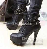 2012 Chic Women Motorcycle Boots com fivela Strappy Rivets Knight High Heel tornozelo Botas Tamanho 34