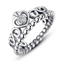 Wholesale Wholesale Ale 925 - 925 Ale sterling sliver Plated crown ring for Valentine's Day princess crown ring authentic diamond rings