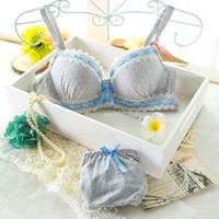 Wholesale Cute Girl Pink Underwear - Sexy cotton girl bra small chest gather cute underwear bra set