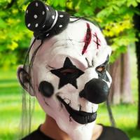 черная белая страшная маска оптовых-Черно-белые страшные маски клоуна анфас косплей ужас маскарад для взрослых призрак маска хэллоуин реквизит костюмы необычные платья ну вечеринку
