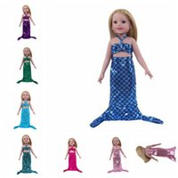 Wholesale Mermaid Costume Accessories - Mermaid Tail Swimwear Outfit Clothes For American Girl 18 Inch Doll Dress Up Doll Costume Party Clothes Dolls Accessories LJJK803