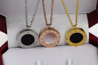 Wholesale Love Letters Box - 2016 Fashion Luxury Brand Stainless Steel Black  White Shell Round Roman Numerals Pendant Necklace Love Necklace Women Gift with box