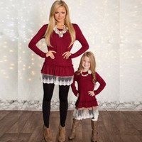 Wholesale Clothing For Family - Mother And Daughter clothes family matching Christmas dresses for girl lace skirt baby Outfit girls fall fashion Children Costume QZZW021