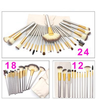 Wholesale Makeup Bag Pcs - 12 18 24 Pcs Professional Makeup Brushes Set Soft Synthetic Make Up Brush Eyeshadow EyBlush Eyeshadow Brush Set with Leather Bag free ship