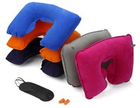 Wholesale Purple Outdoor Pillows - 3 in 1 outdoor camping car Travel Kit Set Inflatable neck rest Pillow cushion+Eye Shade Mask Blinder+ 2 Ear Plugs