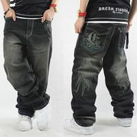 хип-хоп мешковатые штаны мальчики оптовых-черный мешковатый стиль джинсы хип-хоп повседневные брюки свободные хип-хоп джинсы для мужчин и мальчиков объявление джинсовые брюки плюс размер 30-42