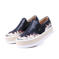 Wholesale shoes big mouth online - Fashion flat shoes Mid heel pantshoes genuine Leather loafers pattern deep mouth big yards women s shoes