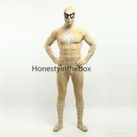 Compra Superman Giallo-2017 Sexy Lycra Spandex Spiderman Zentai Suit Anime mostra Superhero Superman Cosplay Costumi per Halloween