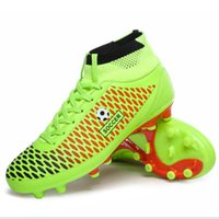 Wholesale Long Black Shoes For Men - Leather Mens Soccer Boots 2016 Outdoor Long Spike FG Football Shoes for Man Sport Trainers Soccer Cleats Football Sock Boots 39-44