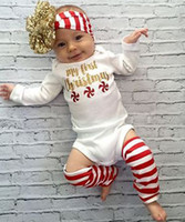 Wholesale Rompers Feet - Fashion New Born Babies Clothes Autumn Christmas Rompers 3pcs Sets My First Christmas Romper + Hair band + Foot Straps Infant Sets Cute 9496