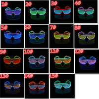 Wholesale New Shutter Fashion - new arrive 15 COLORS El Wire Fashion Neon LED Light Up Shutter Shaped Glow Glasses Rave Costume Party DJ Flash SunGlasses D804