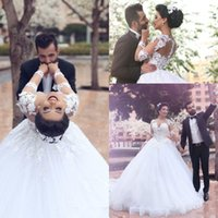 Wholesale Cheap Puffy Dresses - 2016 New Cheap Arabic Ball Gown Wedding Dresses Illusion Jewel Neck Lace Appliques Long Sleeves Tulle Puffy Plus Size Formal Bridal Gowns