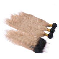 1b 27 koyu kök ombre saç toptan satış-Kapanması ile # 1B / 27 Koyu Kök Bal Sarışın Ombre 4x4 Ön Dantel Kapanış mekân donanımı ile 3Bundles Çilek Sarışın Ombre Düz Brezilyalı Saç