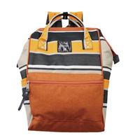 mochila multicolor al por mayor-NUEVO Japón Stripe Handle Backpack Campus Mochila Canvas School Bag Unisex Mochila de viaje al aire libre 5 colores