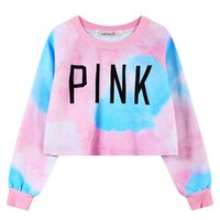 Wholesale Bare Midriff - 2016 Sexy Women Gradient Iridescent fashion Bare Midriff PINK Printed hoddie Dream Color loose Crop top cartoon Sweatshirt Pullover Tops