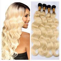 Wholesale Wavy Platinum Blonde - 8A Peruvian 1b 613 blonde ombre human hair extensions two tone color platinum blonde ombre peruvian wavy hair weave weft 4 bundles