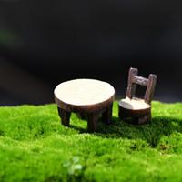 миниатюрные садовые инструменты оптовых-Смола мини искусственный стол стул сказочный сад миниатюры ремесла симпатичные бонсай микро пейзаж украшения террариум гномы инструмент 16cj JZ