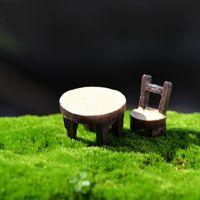 Wholesale Wholesale Wood Chairs - DIY Succulent Plants Resin Craft Terrarium Figurines Miniatures Baison Tools Ornament Round Table Chair Fairy Garden Decoration 16cj J