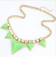 Wholesale Drop Triangle Necklaces - Wholesale Resin Punk Choker Necklace Retro Style Geometric Triangle Alloy Fashion Necklace Jewelry Accessories Drop Shipping Sale
