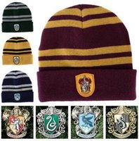 Wholesale Striped School Tie - Hot sale!New recommend winter Harry Potter beanie stripe hit color wool hats designer Magic School knitting caps for women wholesale