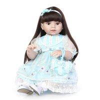 Wholesale Girl Baby Dress Collections - 28 inch Big Toddler Bonecas Collections Dolls Birthday Gifts Toys Soft Vinyl Reborn Baby Dolls in Light Blue Princess Dress