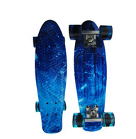 Wholesale Cruiser Ship - 22 inch Mini Cruiser Plastic Skateboard Retro Longboard Blue starry sky Skateboard small fish board free shipping