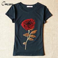 Wholesale T Shirts Ladies Flowers Rose - Wholesale- CWLSP New Summer Women T-Shirt Female White Black Ladies 3D Rose Flower Sequin Tops T-shirt For Woman Camisetas Mujer QA981